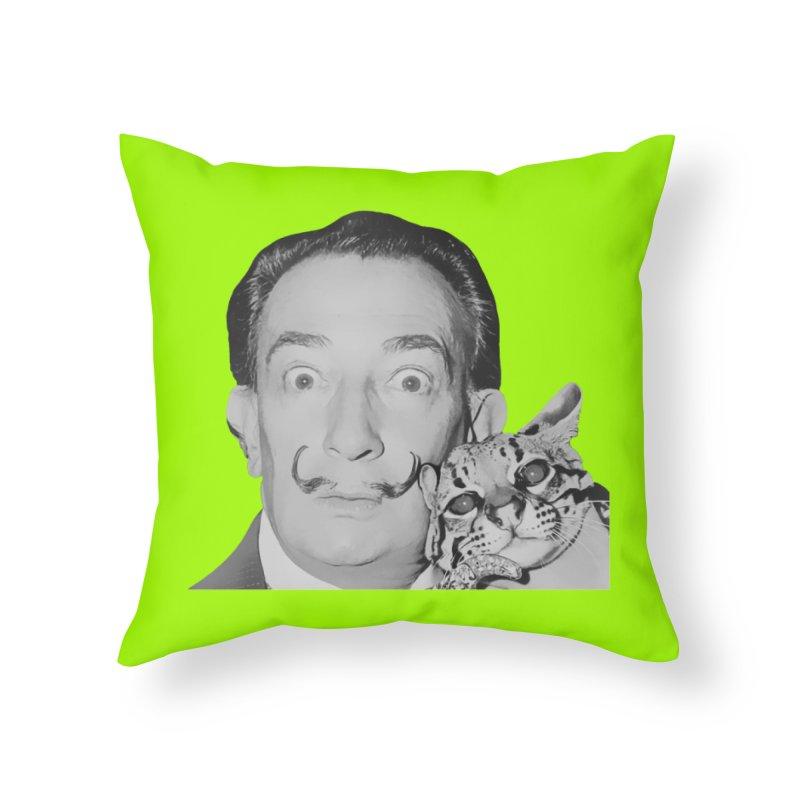 Hero of the Rake & Herald Salvador Dali (and Ocelot) Home Throw Pillow by The Rake & Herald Online Clag Emporium