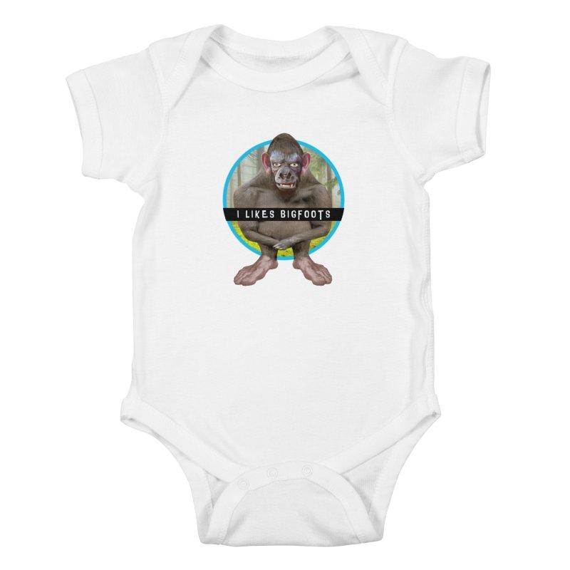 I Likes Bigfoots Kids Baby Bodysuit by The Rake & Herald Online Clag Emporium