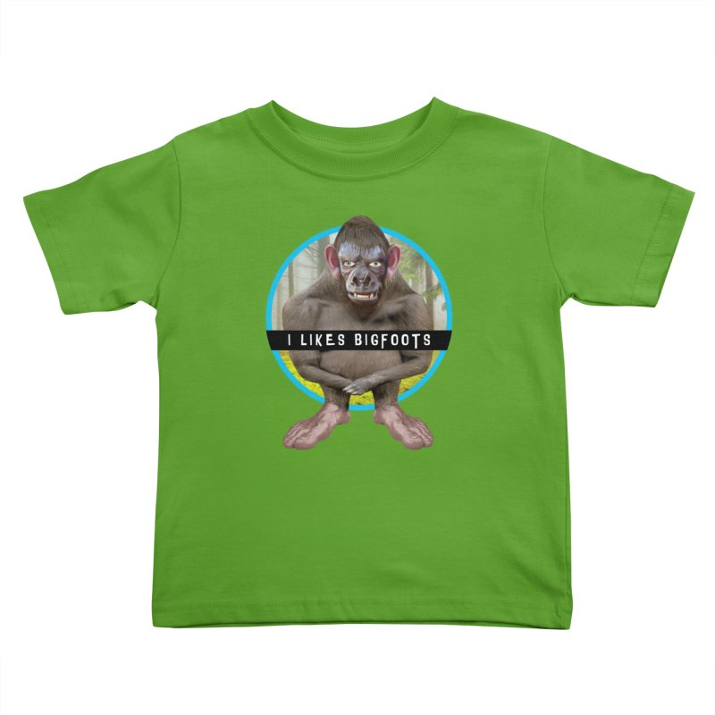 I Likes Bigfoots Kids Toddler T-Shirt by The Rake & Herald Online Clag Emporium