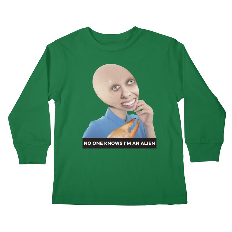 No One Knows I'm an Alien Kids Longsleeve T-Shirt by The Rake & Herald Online Clag Emporium