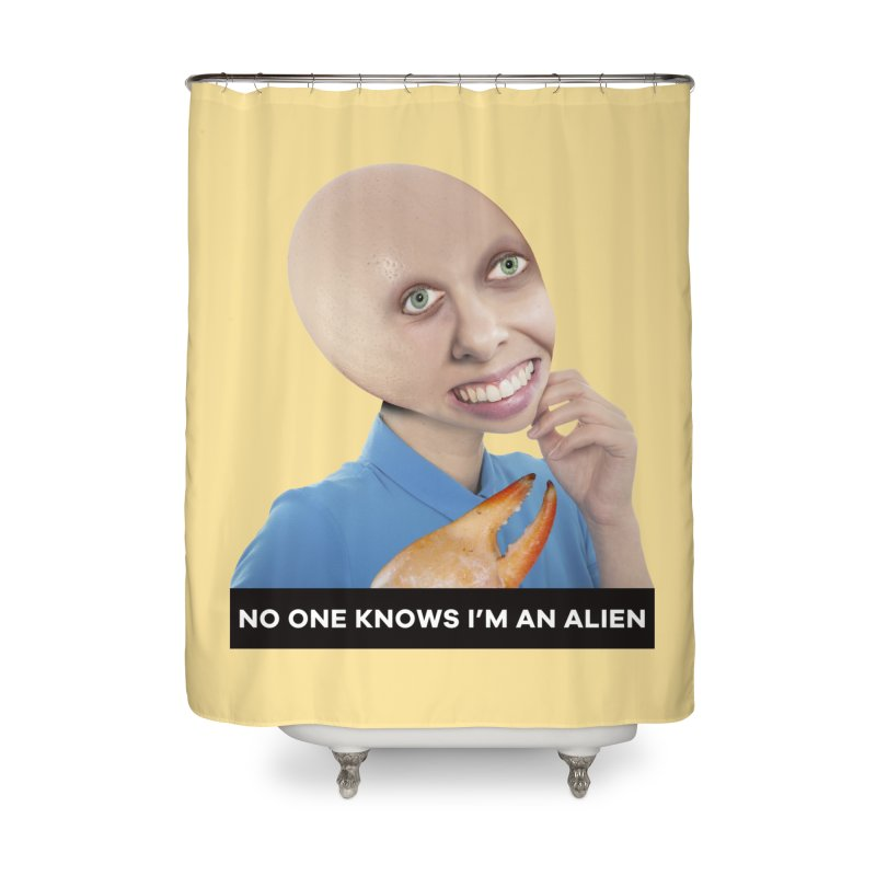 No One Knows I'm an Alien Home Shower Curtain by The Rake & Herald Online Clag Emporium