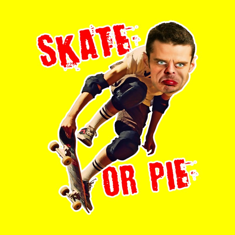 Skate or Pie Home Throw Pillow by The Rake & Herald Online Clag Emporium