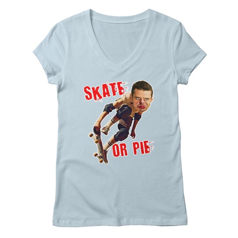Skate or Pie Women's V-Neck by Rake Clag