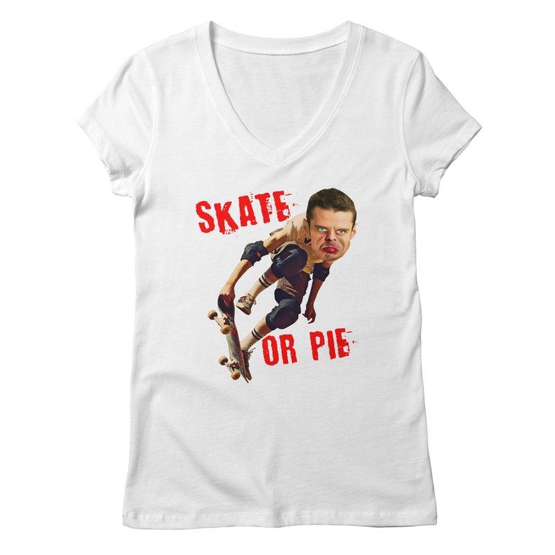 Skate or Pie Women's V-Neck by The Rake & Herald Online Clag Emporium