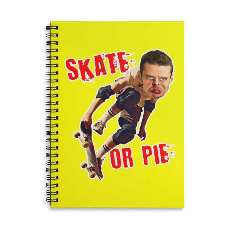 Skate or Pie Accessories Lined Spiral Notebook by The Rake & Herald Online Clag Emporium