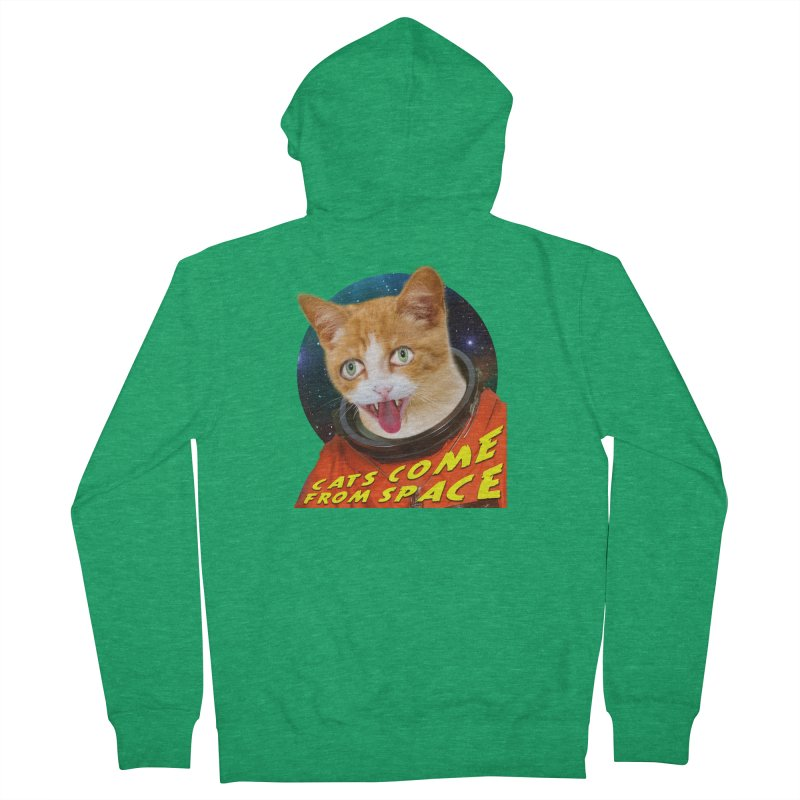 Cats Come From Space Women's French Terry Zip-Up Hoody by The Rake & Herald Online Clag Emporium