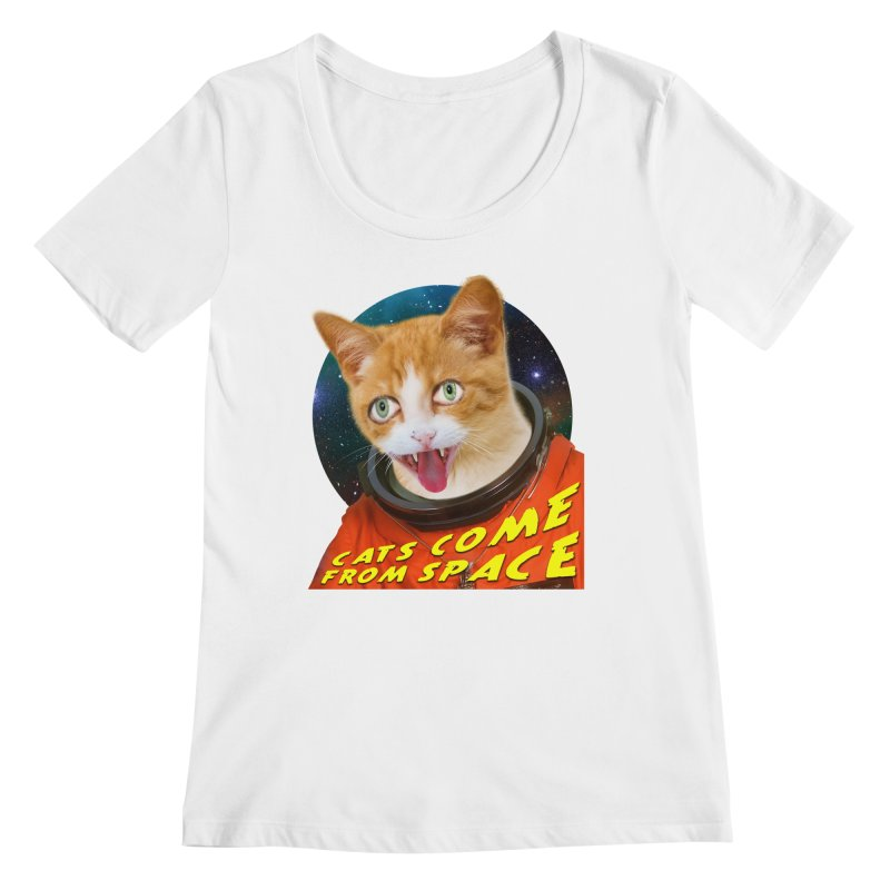 Cats Come From Space Women's Regular Scoop Neck by The Rake & Herald Online Clag Emporium