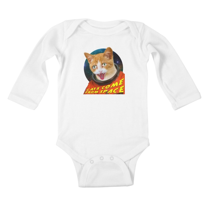 Cats Come From Space Kids Baby Longsleeve Bodysuit by The Rake & Herald Online Clag Emporium