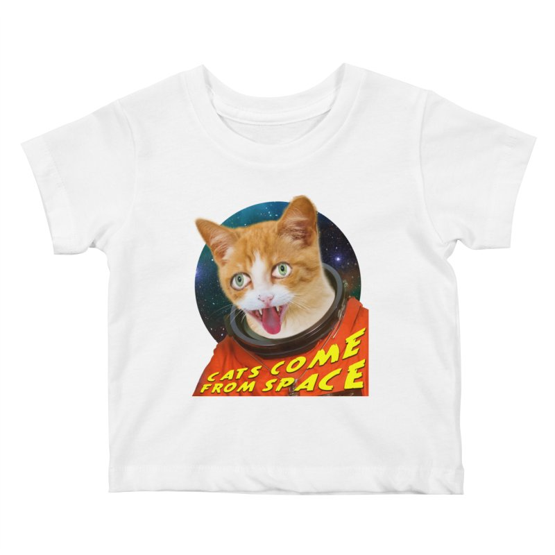 Cats Come From Space Kids Baby T-Shirt by The Rake & Herald Online Clag Emporium