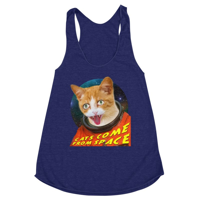 Cats Come From Space Women's Racerback Triblend Tank by The Rake & Herald Online Clag Emporium