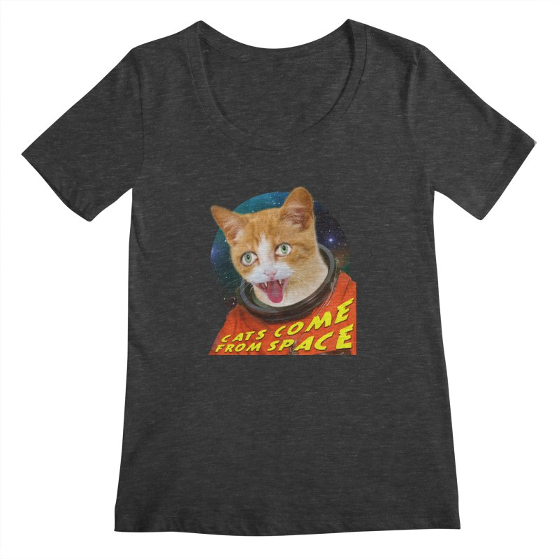 Cats Come From Space Women's Scoopneck by The Rake & Herald Online Clag Emporium