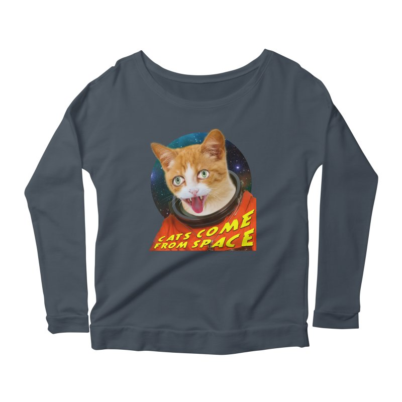 Cats Come From Space Women's Longsleeve Scoopneck  by The Rake & Herald Online Clag Emporium
