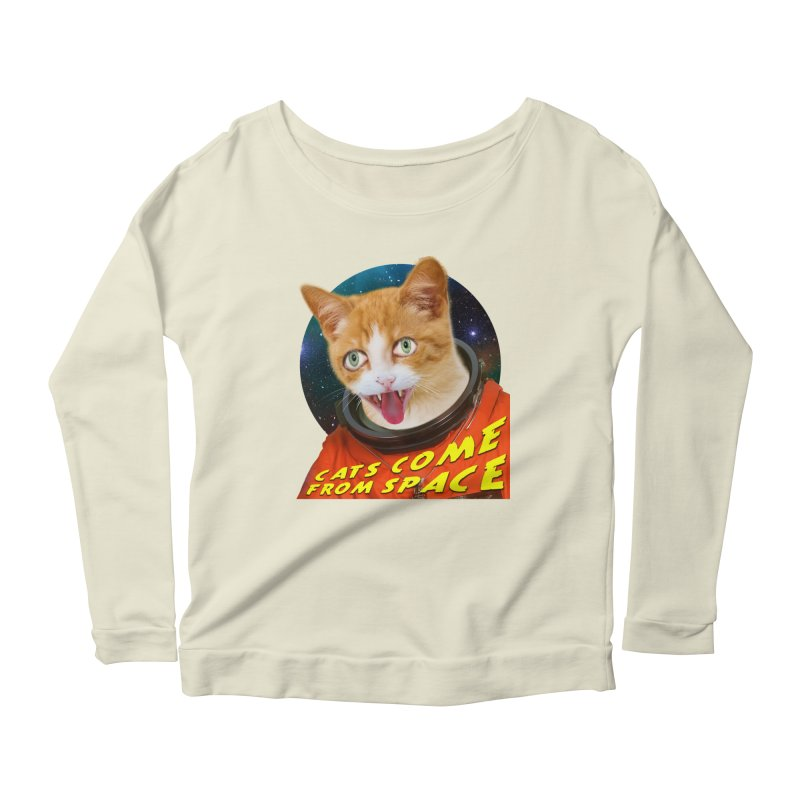 Cats Come From Space Women's Scoop Neck Longsleeve T-Shirt by The Rake & Herald Online Clag Emporium