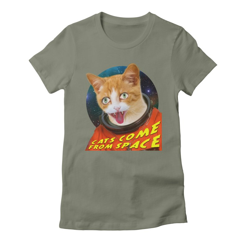 Cats Come From Space Women's Fitted T-Shirt by The Rake & Herald Online Clag Emporium