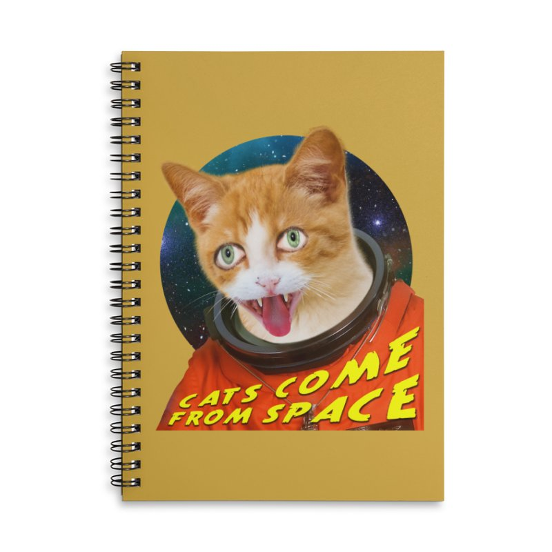 Cats Come From Space Accessories Lined Spiral Notebook by The Rake & Herald Online Clag Emporium