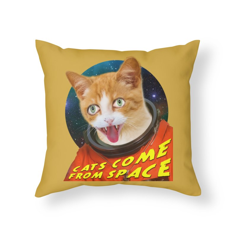 Cats Come From Space Home Throw Pillow by The Rake & Herald Online Clag Emporium