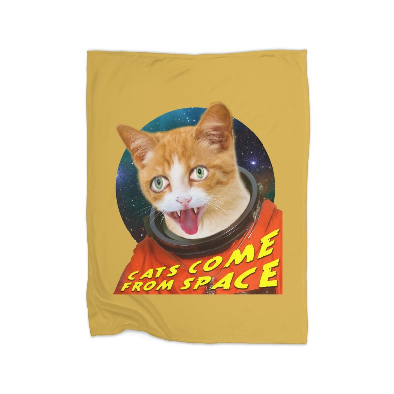Cats Come From Space Home Fleece Blanket Blanket by The Rake & Herald Online Clag Emporium