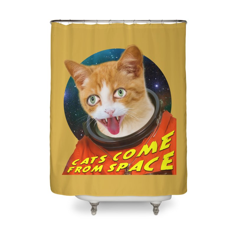 Cats Come From Space Home Shower Curtain by The Rake & Herald Online Clag Emporium