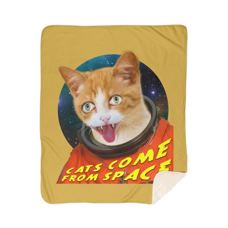 Cats Come From Space Home Sherpa Blanket Blanket by The Rake & Herald Online Clag Emporium