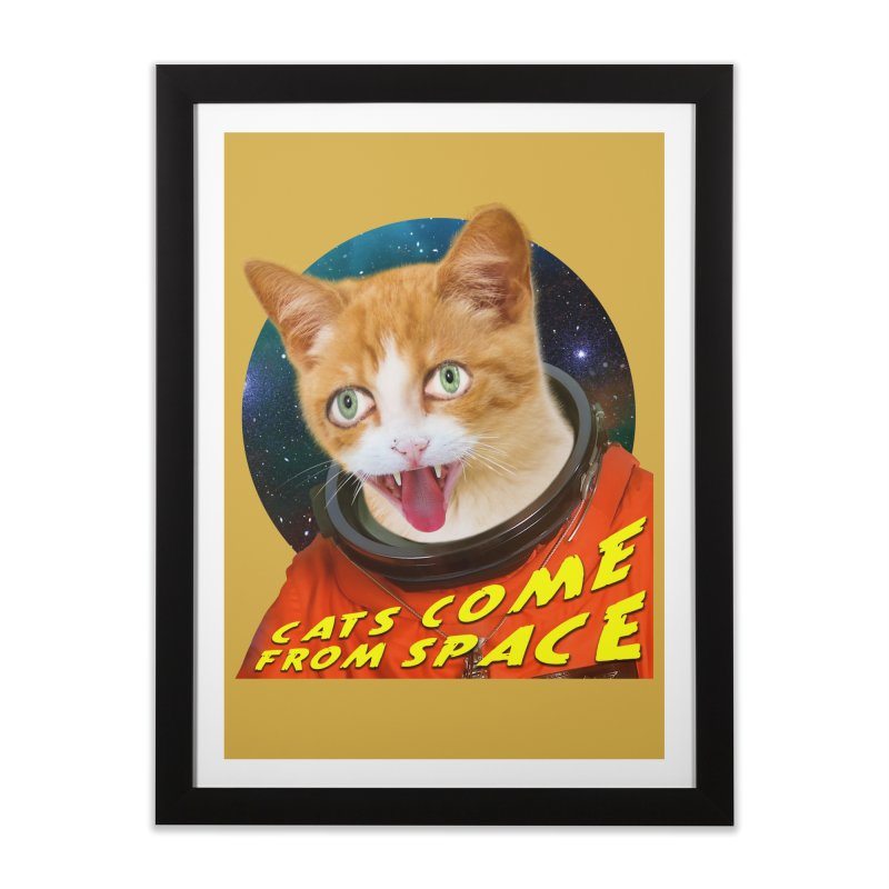 Cats Come From Space Home Framed Fine Art Print by The Rake & Herald Online Clag Emporium