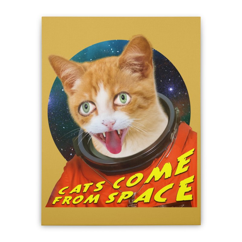 Cats Come From Space Home Stretched Canvas by The Rake & Herald Online Clag Emporium