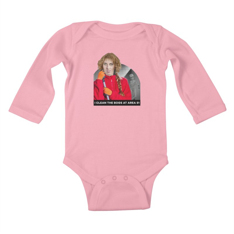 I Clean the Bogs at Area 51 Kids Baby Longsleeve Bodysuit by The Rake & Herald Online Clag Emporium