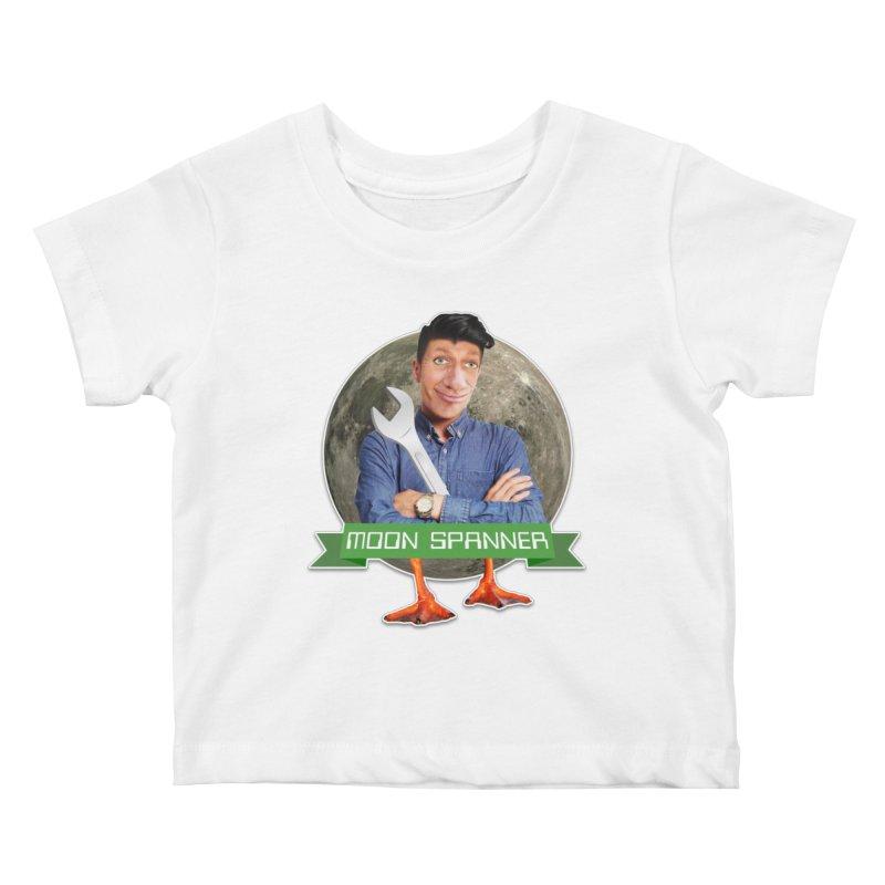 Moon Spanner Kids Baby T-Shirt by The Rake & Herald Online Clag Emporium