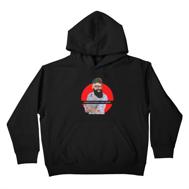 A Beard and Tattoos Kids Pullover Hoody by The Rake & Herald Online Clag Emporium