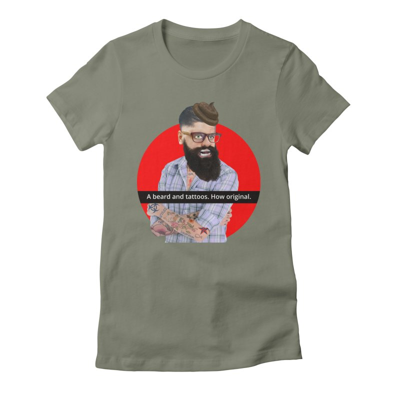 A Beard and Tattoos Women's Fitted T-Shirt by The Rake & Herald Online Clag Emporium