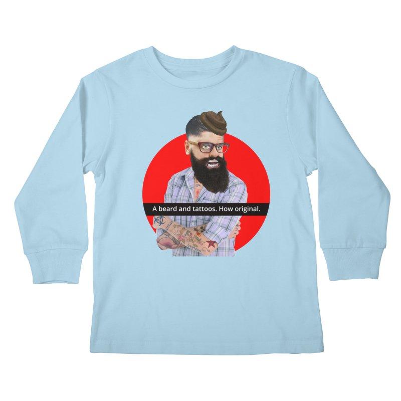A Beard and Tattoos Kids Longsleeve T-Shirt by The Rake & Herald Online Clag Emporium