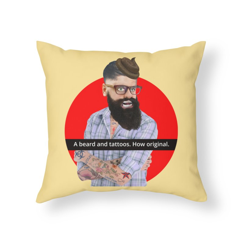 A Beard and Tattoos Home Throw Pillow by The Rake & Herald Online Clag Emporium