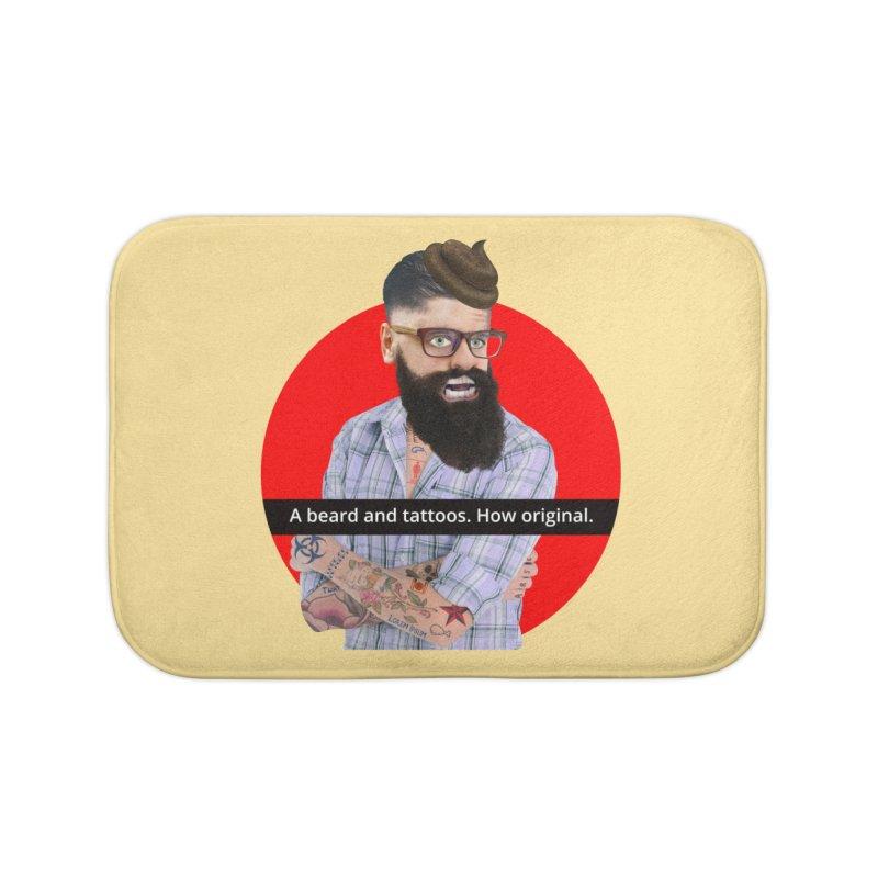 A Beard and Tattoos Home Bath Mat by The Rake & Herald Online Clag Emporium