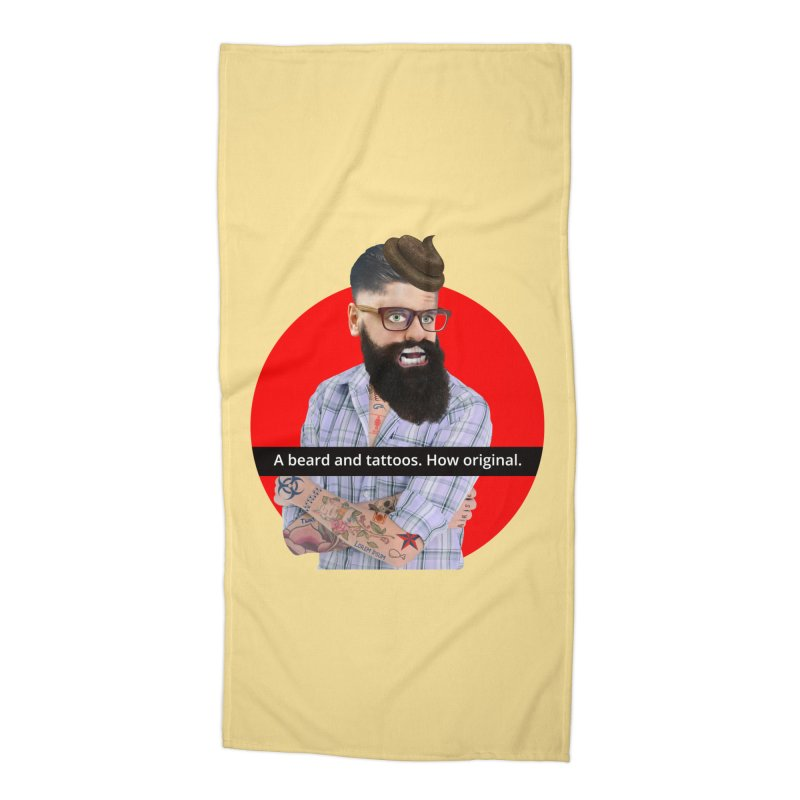 A Beard and Tattoos Accessories Beach Towel by The Rake & Herald Online Clag Emporium
