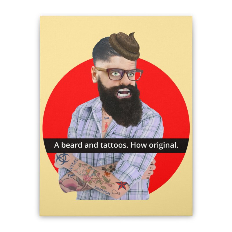 A Beard and Tattoos Home Stretched Canvas by The Rake & Herald Online Clag Emporium