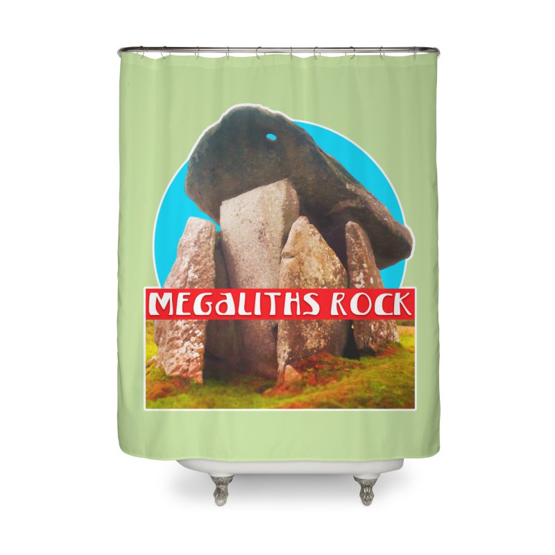 Megaliths Rock Home Shower Curtain by The Rake & Herald Online Clag Emporium