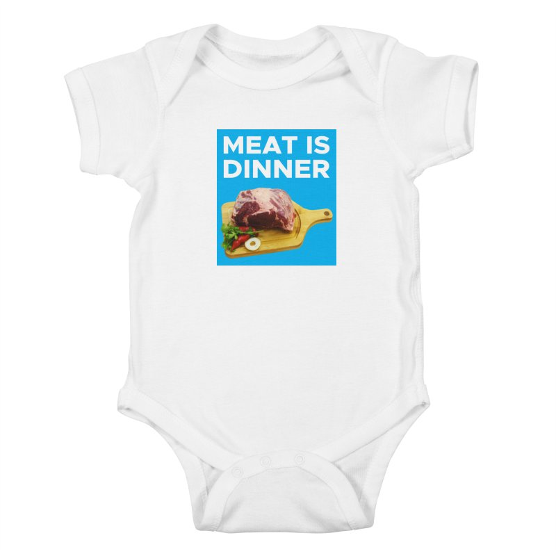 Meat Is Dinner Kids Baby Bodysuit by The Rake & Herald Online Clag Emporium