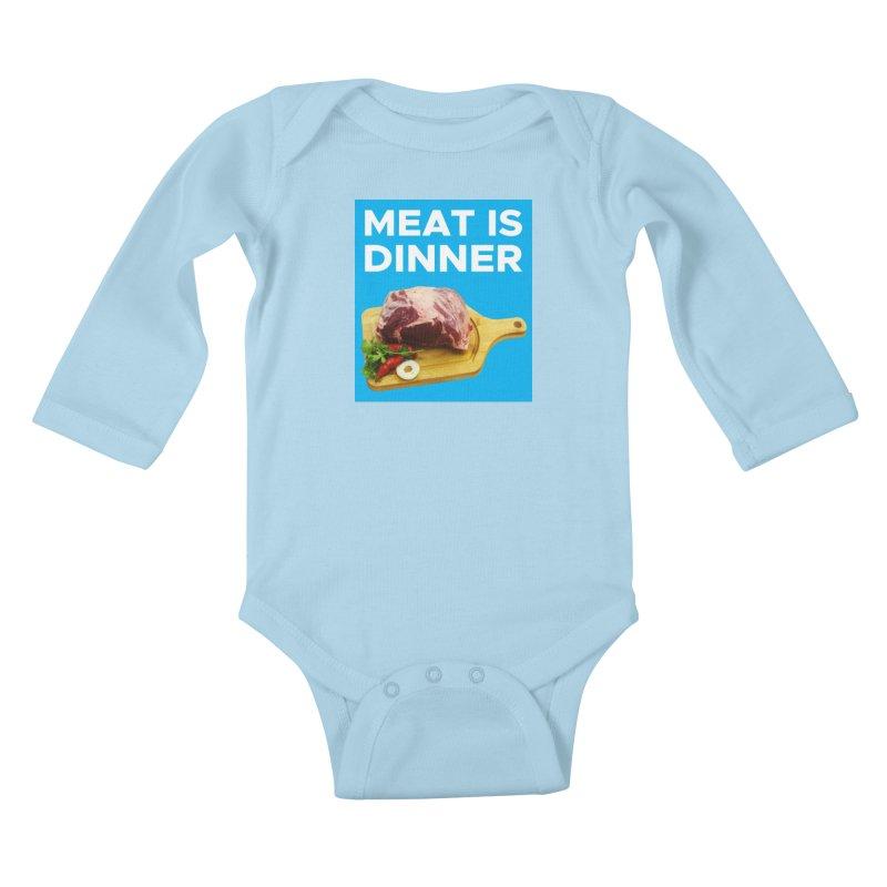 Meat Is Dinner Kids Baby Longsleeve Bodysuit by The Rake & Herald Online Clag Emporium