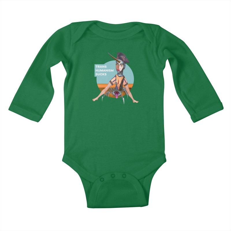 Transhumanism Sucks Kids Baby Longsleeve Bodysuit by The Rake & Herald Online Clag Emporium