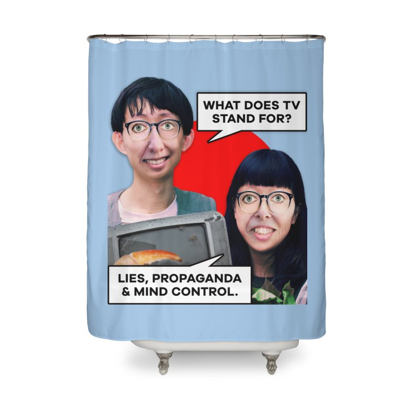 What Does TV Stand For? Home Shower Curtain by The Rake & Herald Online Clag Emporium