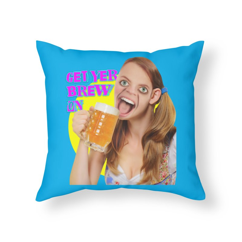 Get Yer Brew On Home Throw Pillow by The Rake & Herald Online Clag Emporium