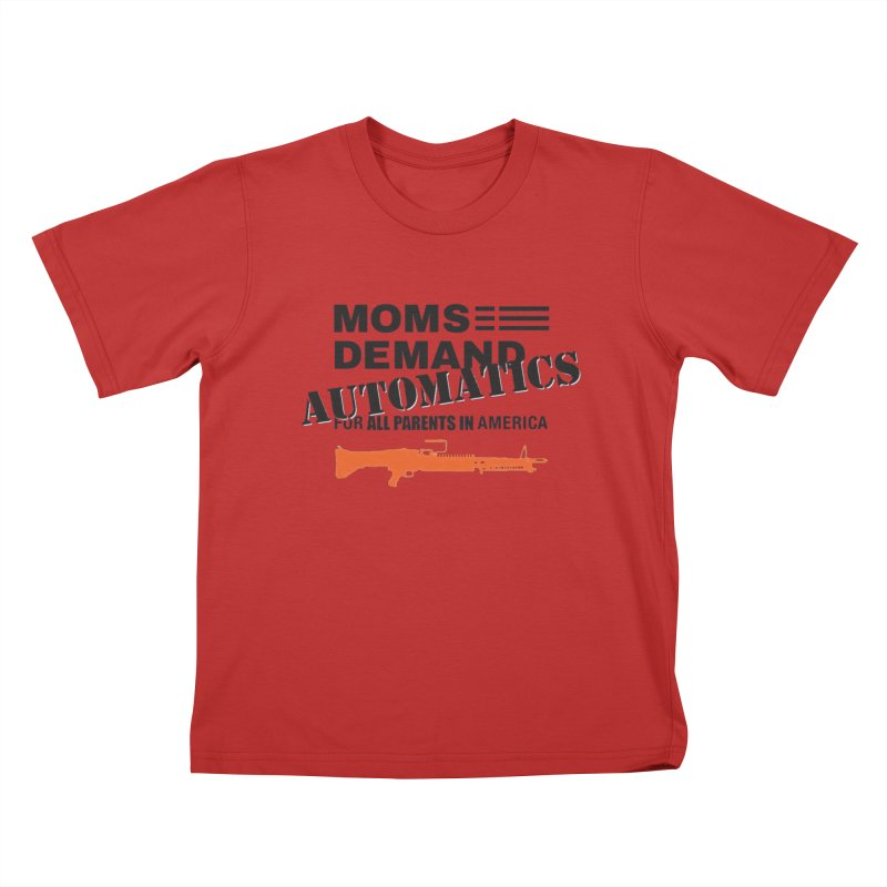 Moms Demand Automatics - Black Logo, Orange LMG Kids T-Shirt by Rally For Our Rights Shop