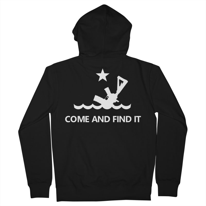 Come and Find It - White Logo Men's French Terry Zip-Up Hoody by Rally For Our Rights Shop