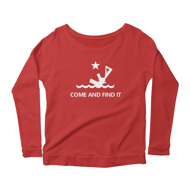 Come and Find It - White Logo Women's Scoop Neck Longsleeve T-Shirt by Rally For Our Rights Shop