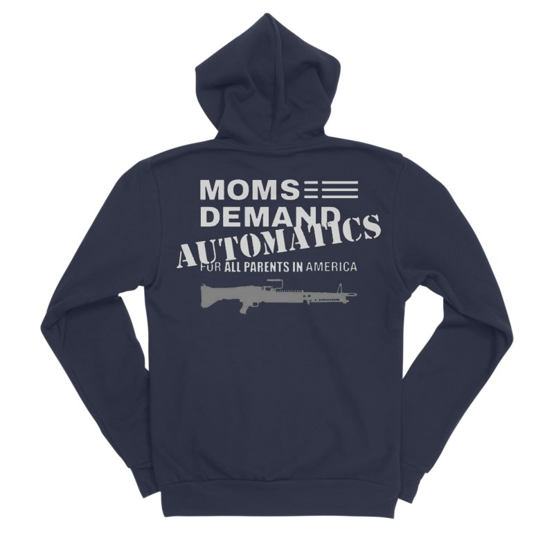 Moms Demand Automatics - White Logo, Gray LMG Women's Sponge Fleece Zip-Up Hoody by Rally For Our Rights Shop