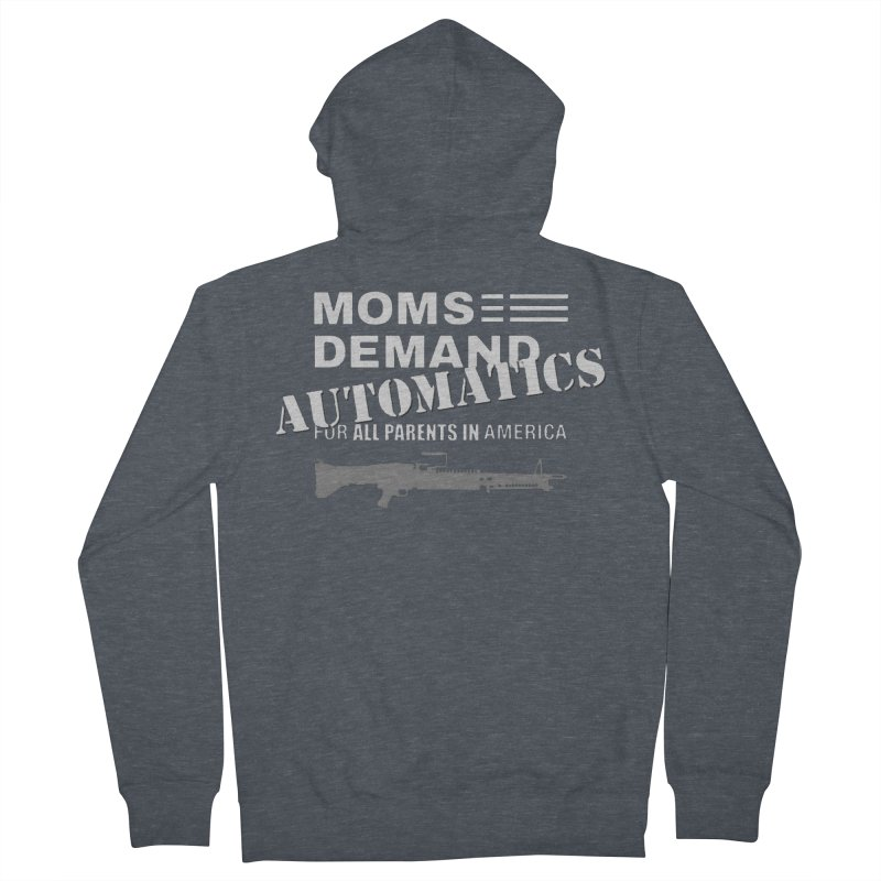 Moms Demand Automatics - White Logo, Gray LMG Men's French Terry Zip-Up Hoody by Rally For Our Rights Shop