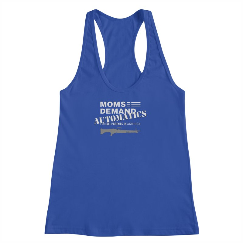 Moms Demand Automatics - White Logo, Gray LMG Women's Racerback Tank by Rally For Our Rights Shop