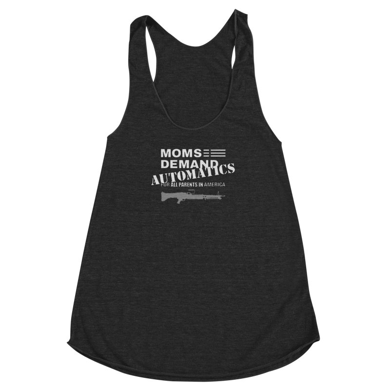Moms Demand Automatics - White Logo, Gray LMG Women's Racerback Triblend Tank by Rally For Our Rights Shop