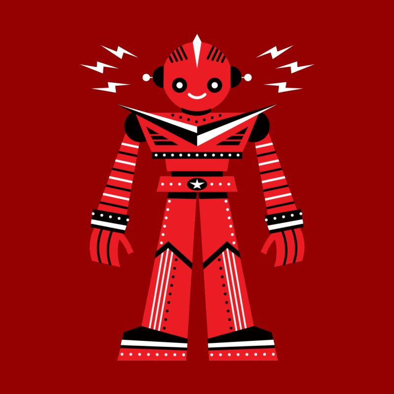 Red Robot Women's T-Shirt by Ramon Olivera Illustration Shop