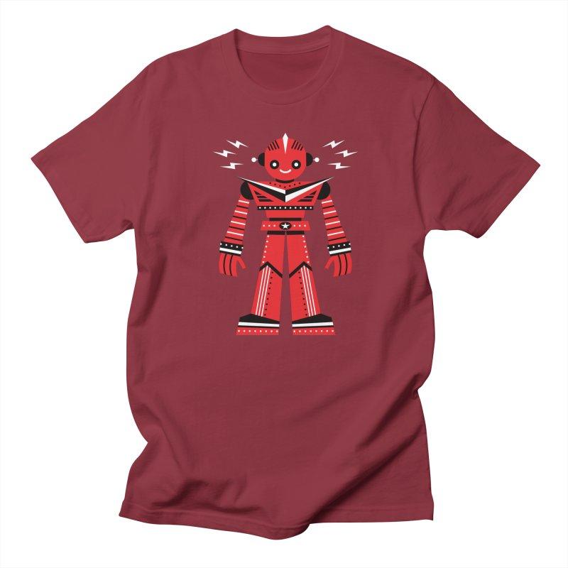 Red Robot Men's T-Shirt by Ramon Olivera Illustration Shop
