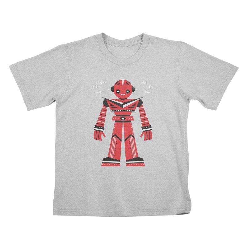 Red Robot Kids T-Shirt by Ramon Olivera Illustration Shop